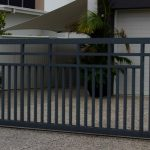 Sliding Automatic gate with triple top rail and vertical square tubes