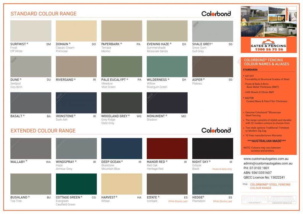 colorbond fence colours and styles