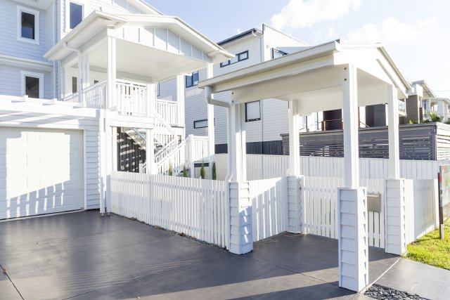 Classic white picket fence